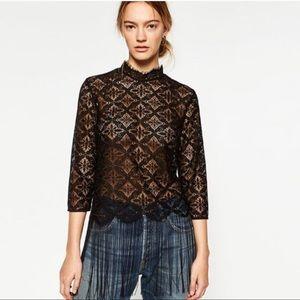 Zara basic black lace fringe top